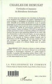 Charles De Remusat ; Certitudes Et Impasses Du Liberalisme Doctrinaire - 4ème de couverture - Format classique