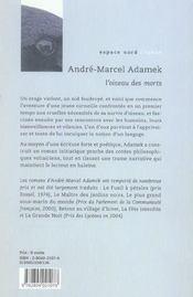 Oiseau Des Morts (L') Ancienne Edition - 4ème de couverture - Format classique