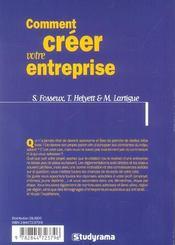 Comment creer votre entreprise ? - 4ème de couverture - Format classique