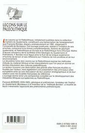 Lecons Sur Le Paleolitique Ii - 4ème de couverture - Format classique