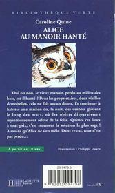 Alice Au Manoir Hante - 4ème de couverture - Format classique