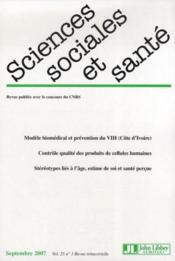 Revue Sciences Sociales Et Sante Vol 25 N3 Septembre 2007 - Couverture - Format classique