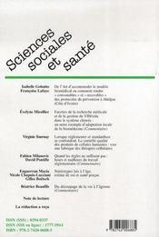 Revue Sciences Sociales Et Sante Vol 25 N3 Septembre 2007 - 4ème de couverture - Format classique