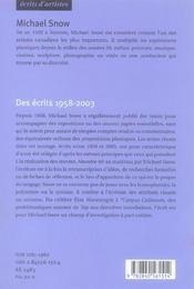 Des ecrits 1958-2003 michael snow (nouvelle edition) - 4ème de couverture - Format classique
