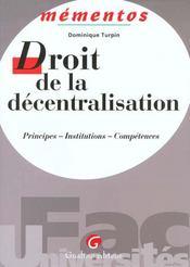 Droit De La Decentralisation - Intérieur - Format classique