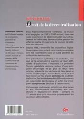 Droit De La Decentralisation - 4ème de couverture - Format classique