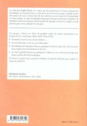 Electrocinetique 1re Annee Mpsi Pcsi Ptsi Exercices Corriges - 4ème de couverture - Format classique