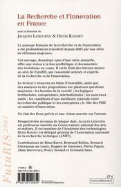 La recherche et l'innovation en France - 4ème de couverture - Format classique