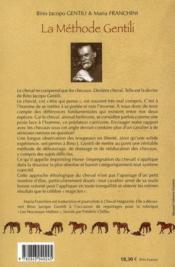 La méthode Gentili, une approche éthologique du cheval ; débourrage et mise en confiance - 4ème de couverture - Format classique
