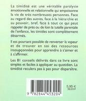 81 Facons De Vaincre La Timidite - 4ème de couverture - Format classique