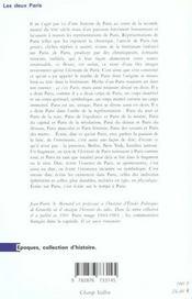 Deux Paris (Les) - 4ème de couverture - Format classique