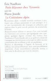 Petit Dejeuner Chez Tyrannie Suivi De Le Cretinisme Alpin - 4ème de couverture - Format classique