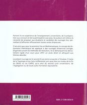 Dictionnaire D'Exercices D'Analyse Topologie Et Calcul Differentiel - 4ème de couverture - Format classique