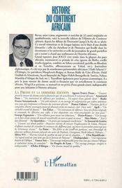 Histoire du continent africain t.2 ; du XVII siècle à 1939 - 4ème de couverture - Format classique