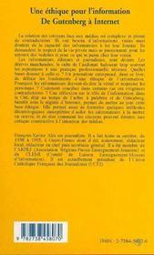 Une éthique pour l'information ; de Gutenberg à Internet - 4ème de couverture - Format classique
