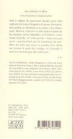 Une Enfance Marocaine - 4ème de couverture - Format classique