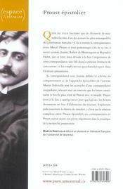 Proust épistolier - 4ème de couverture - Format classique
