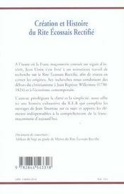Creation Et Histoire Du Rite Ecossais Rectifie - 4ème de couverture - Format classique