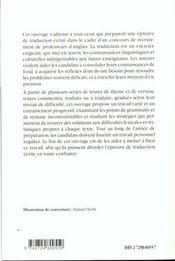 Reussir L'Epreuve De Traduction Ecrite Capes/Agregation Anglais - 4ème de couverture - Format classique