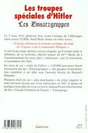 Les Troupes Speciales D'Hitler - 4ème de couverture - Format classique