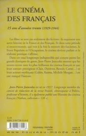 Le Cinema Des Francais ; 15 Ans D'Annees Trente, 1929-1944 - 4ème de couverture - Format classique