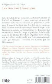Les anciens canadiens - 4ème de couverture - Format classique