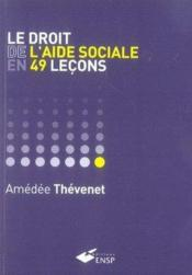 Le droit de l'aide sociale en 49 leçons - Couverture - Format classique