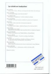 Le Cliche En Traduction - 4ème de couverture - Format classique