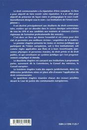 Droit Europeen Les Institutions - 4ème de couverture - Format classique