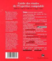 Guide des etudes. expertise comptable : dpecf, decf, descf, stage, dec - 4ème de couverture - Format classique