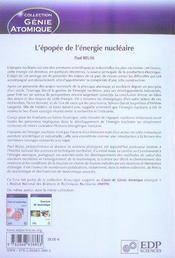 L'épopée de l'énergie nucléaire ; une histoire scientifique et industrielle - 4ème de couverture - Format classique