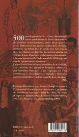 500 Ans De Psychiatrie - 4ème de couverture - Format classique