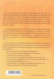 Lexique bilingue des termes juridiques (français-espagnol) - 4ème de couverture - Format classique