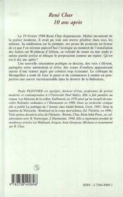 Rene Char 10 Ans Apres - 4ème de couverture - Format classique