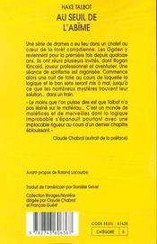 Au Seuil De L'Abime - 4ème de couverture - Format classique