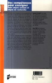Des competences pour enseigner. entre objets sociaux et objets de recherche - 4ème de couverture - Format classique