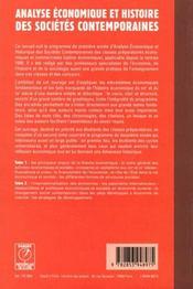 Analyse economique et histoire des societes contemporaines t.1 - 4ème de couverture - Format classique