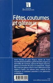 Fêtes, coutumes et gâteaux - 4ème de couverture - Format classique
