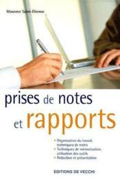 Prise de notes et rapports - Couverture - Format classique