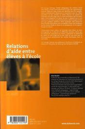 Relations d'aide entre élèves à l'école - 4ème de couverture - Format classique