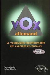 Vox allemand ; le vocabulaire incontournable des examens et des concours - Intérieur - Format classique
