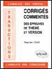 Traductions Corriges Commentes Des Epreuves De Theme Et Version L'Anglais Des Prepas Et Des Concours - Intérieur - Format classique