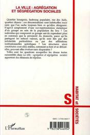 La Ville : Agregation Et Segregation Sociales - 4ème de couverture - Format classique