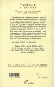 Tolérance et réforme ; éléments pour une généalogie du concept de tolérance - 4ème de couverture - Format classique