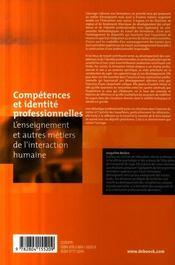 Competences Et Identite Professionnelles - 4ème de couverture - Format classique