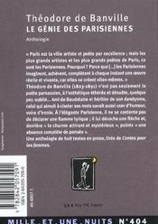 Le Genie Des Parisiennes - 4ème de couverture - Format classique