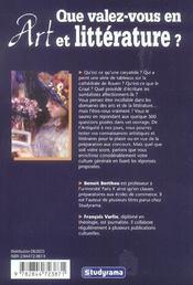 Que Valez Vous En Arts Et Litterature ? - 4ème de couverture - Format classique