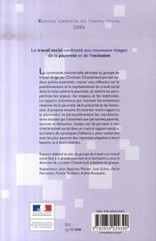 Le travail social confronté aux nouveaux visages de la pauvreté et de l'exclusion - 4ème de couverture - Format classique