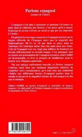 Parlons Espagnol ; Langue Et Culture - 4ème de couverture - Format classique