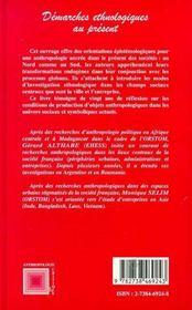 Démarches ethnologiques au présent - 4ème de couverture - Format classique